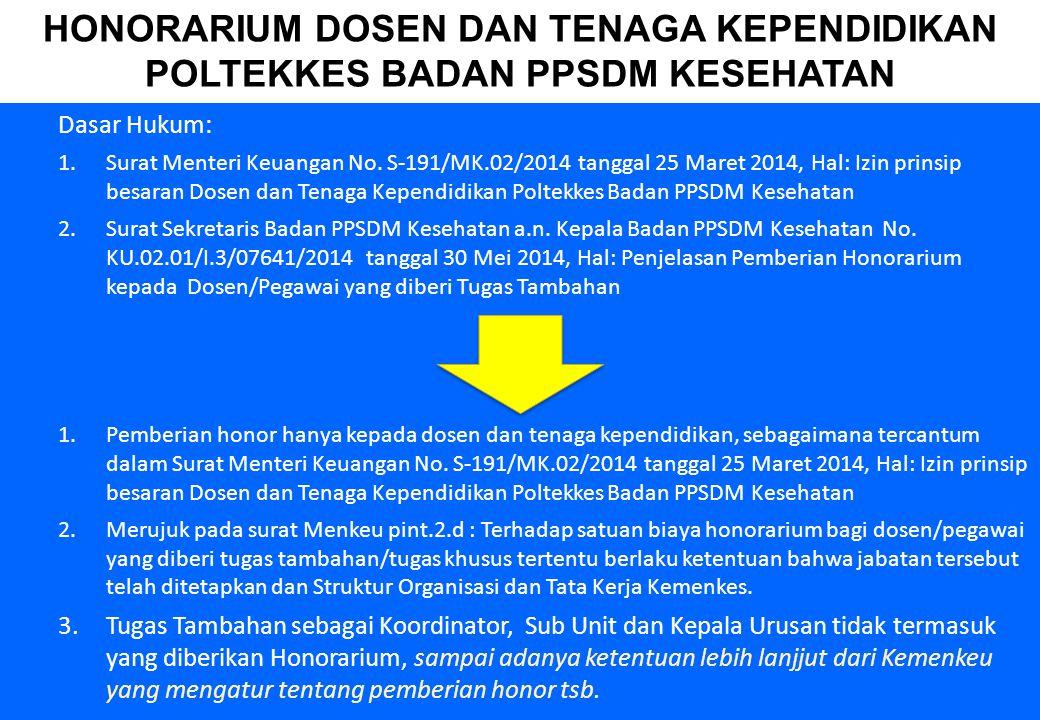 18 Dasar Hukum: 1.Surat Menteri Keuangan No. S-191/MK.02/2014 tanggal 25 Maret 2014, Hal: Izin prinsip besaran Dosen dan Tenaga Kependidikan Poltekkes