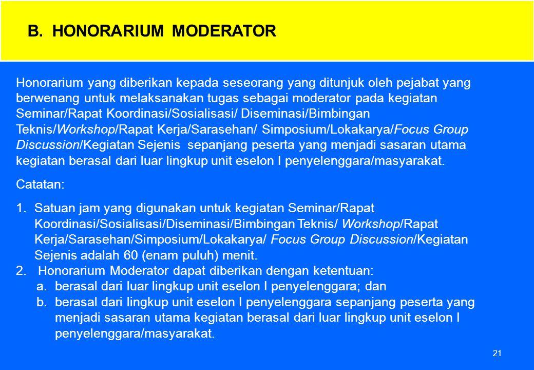 21 Honorarium yang diberikan kepada seseorang yang ditunjuk oleh pejabat yang berwenang untuk melaksanakan tugas sebagai moderator pada kegiatan Semin