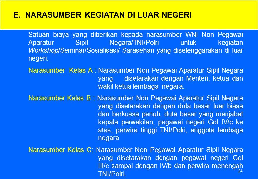24 Satuan biaya yang diberikan kepada narasumber WNI Non Pegawai Aparatur Sipil Negara/TNI/Polri untuk kegiatan Workshop/Seminar/Sosialisasi/ Saraseha