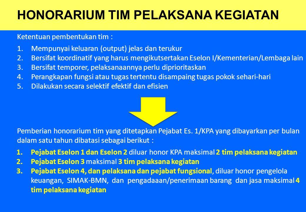 25 Ketentuan pembentukan tim : 1.Mempunyai keluaran (output) jelas dan terukur 2.Bersifat koordinatif yang harus mengikutsertakan Eselon I/Kementerian