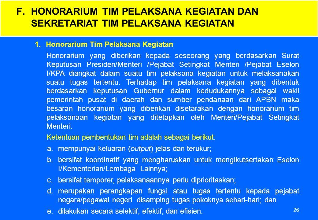26 1.Honorarium Tim Pelaksana Kegiatan Honorarium yang diberikan kepada seseorang yang berdasarkan Surat Keputusan Presiden/Menteri /Pejabat Setingkat