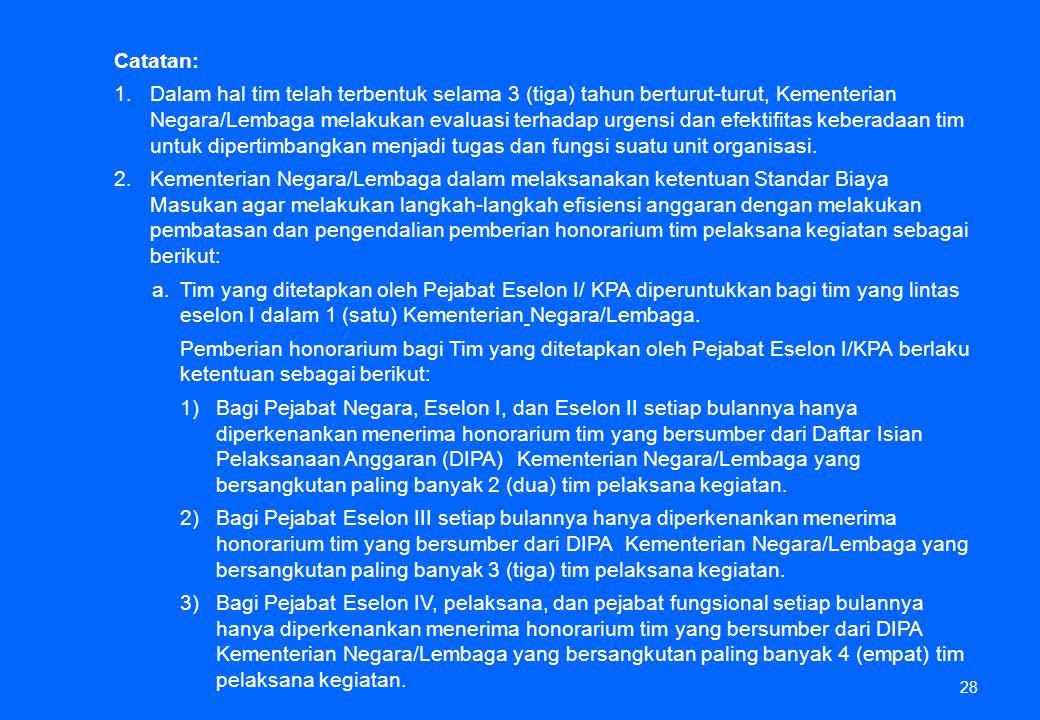 28 Catatan: 1.Dalam hal tim telah terbentuk selama 3 (tiga) tahun berturut-turut, Kementerian Negara/Lembaga melakukan evaluasi terhadap urgensi dan e