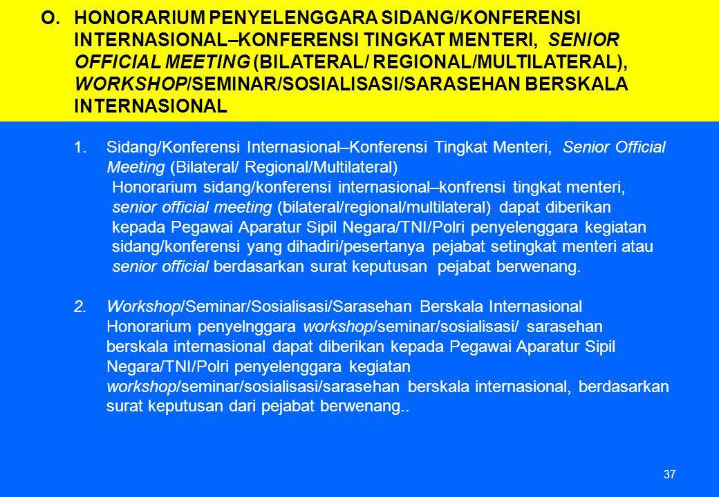 37 1.Sidang/Konferensi Internasional–Konferensi Tingkat Menteri, Senior Official Meeting (Bilateral/ Regional/Multilateral) Honorarium sidang/konferen
