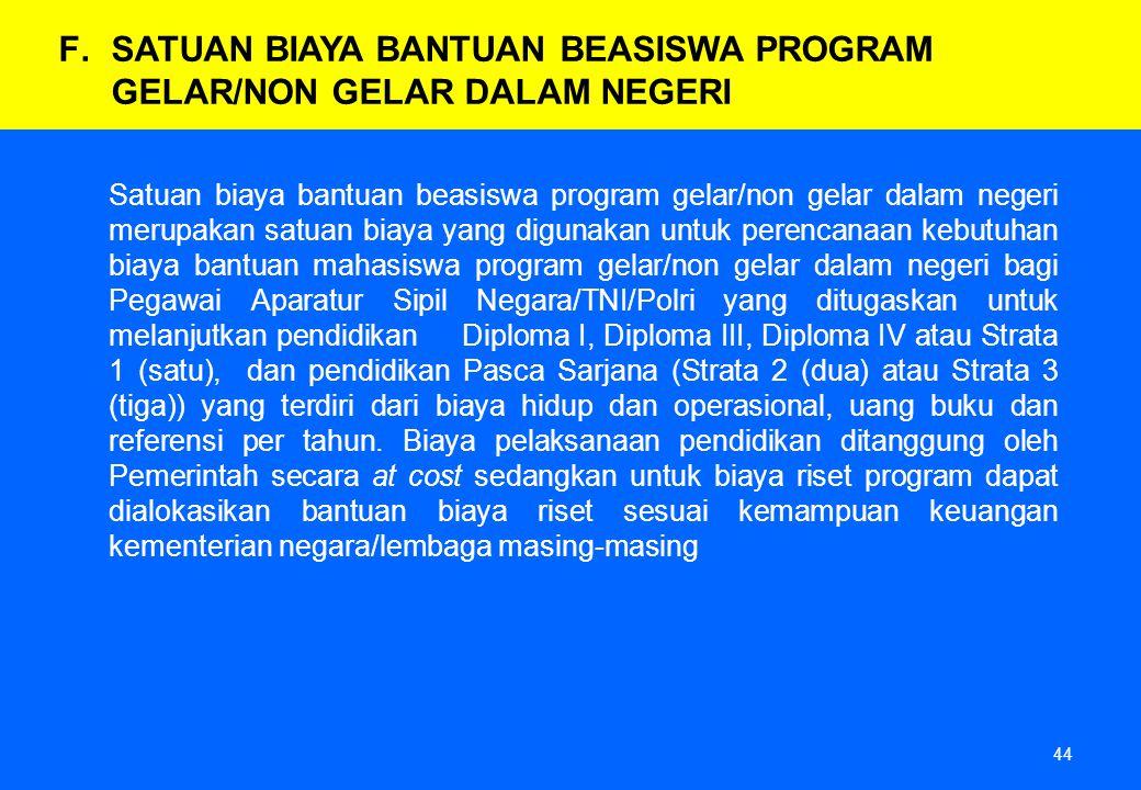 44 Satuan biaya bantuan beasiswa program gelar/non gelar dalam negeri merupakan satuan biaya yang digunakan untuk perencanaan kebutuhan biaya bantuan