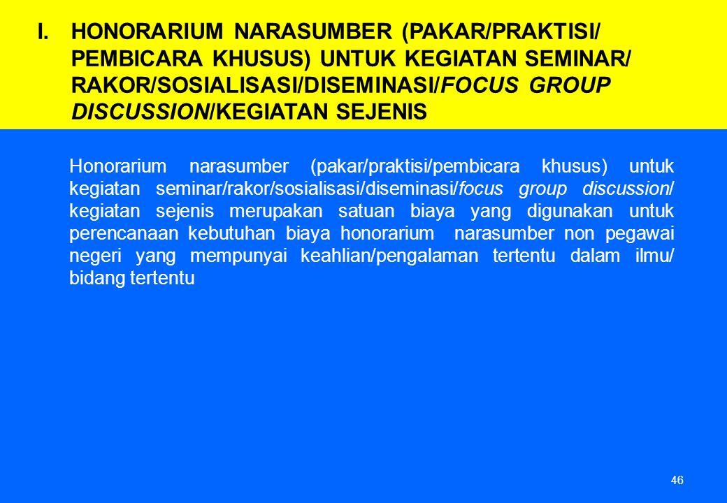 46 Honorarium narasumber (pakar/praktisi/pembicara khusus) untuk kegiatan seminar/rakor/sosialisasi/diseminasi/focus group discussion/ kegiatan sejeni
