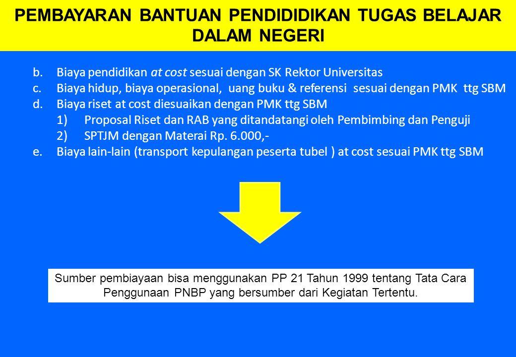 67 b.Biaya pendidikan at cost sesuai dengan SK Rektor Universitas c.Biaya hidup, biaya operasional, uang buku & referensi sesuai dengan PMK ttg SBM d.