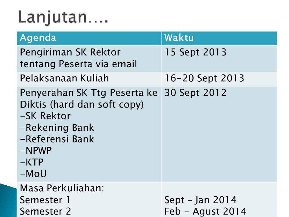 AgendaWaktu Pengiriman SK Rektor tentang Peserta via email 15 Sept 2013 Pelaksanaan Kuliah16-20 Sept 2013 Penyerahan SK Ttg Peserta ke Diktis (hard da