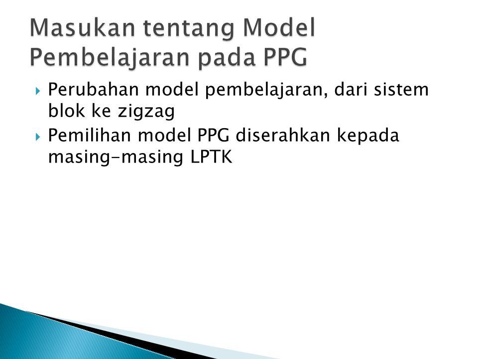  Perubahan model pembelajaran, dari sistem blok ke zigzag  Pemilihan model PPG diserahkan kepada masing-masing LPTK