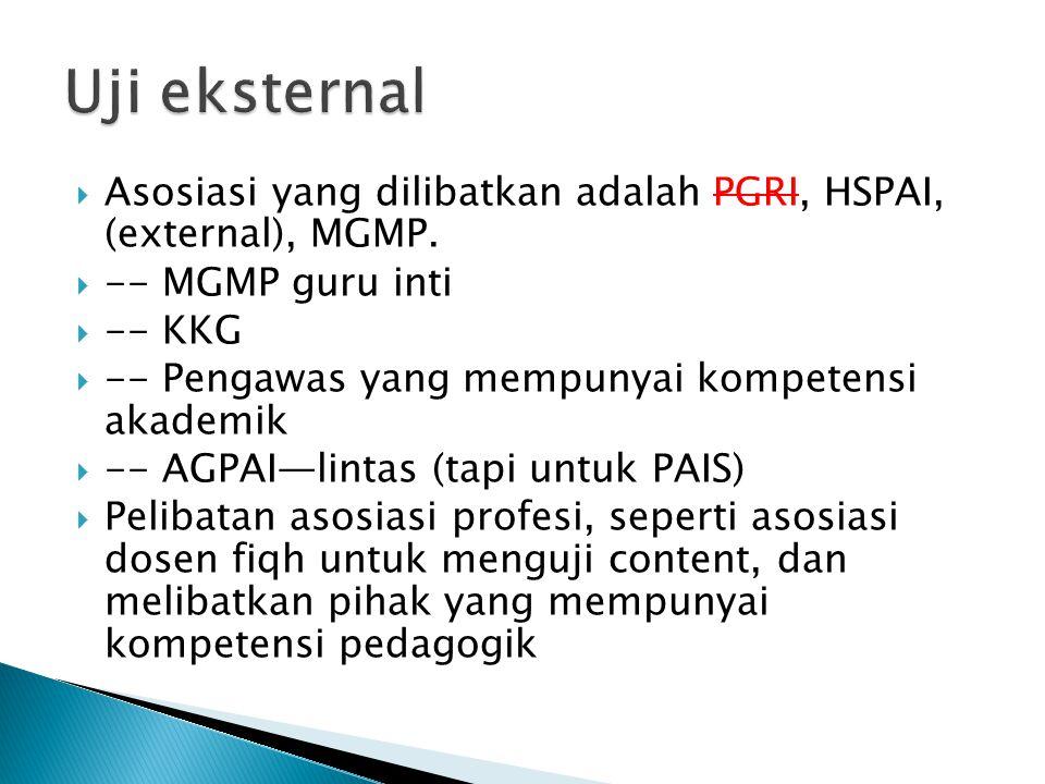  Asosiasi yang dilibatkan adalah PGRI, HSPAI, (external), MGMP.  -- MGMP guru inti  -- KKG  -- Pengawas yang mempunyai kompetensi akademik  -- AG