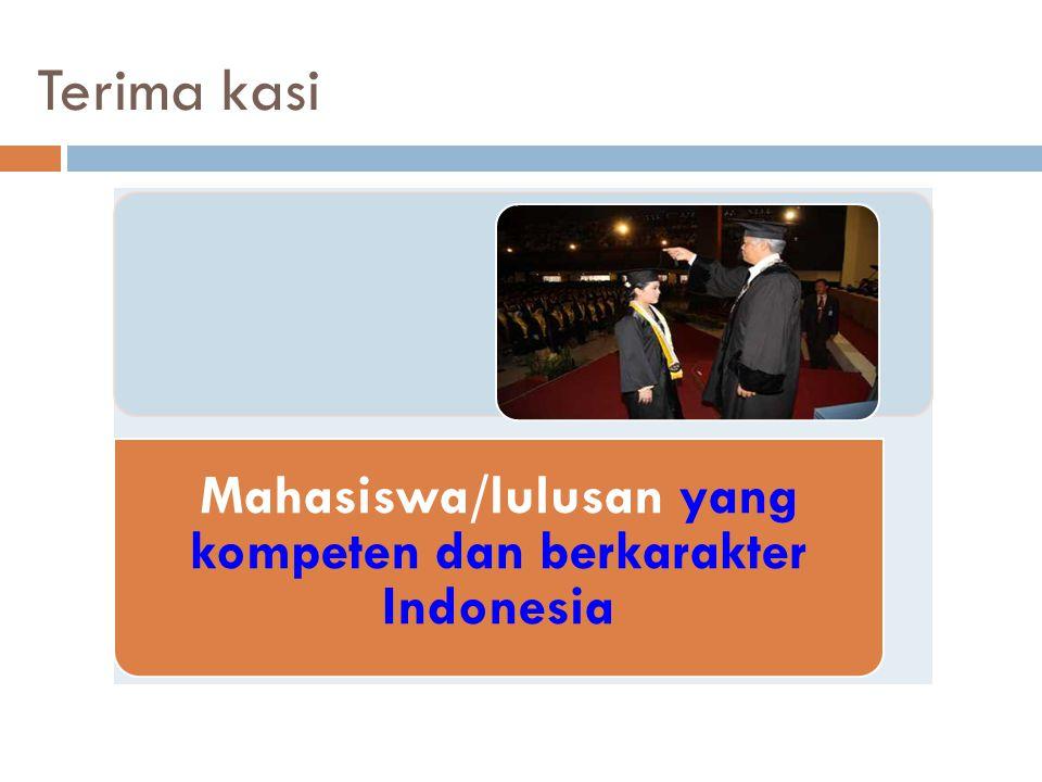 Terima kasi Mahasiswa/lulusan yang kompeten dan berkarakter Indonesia