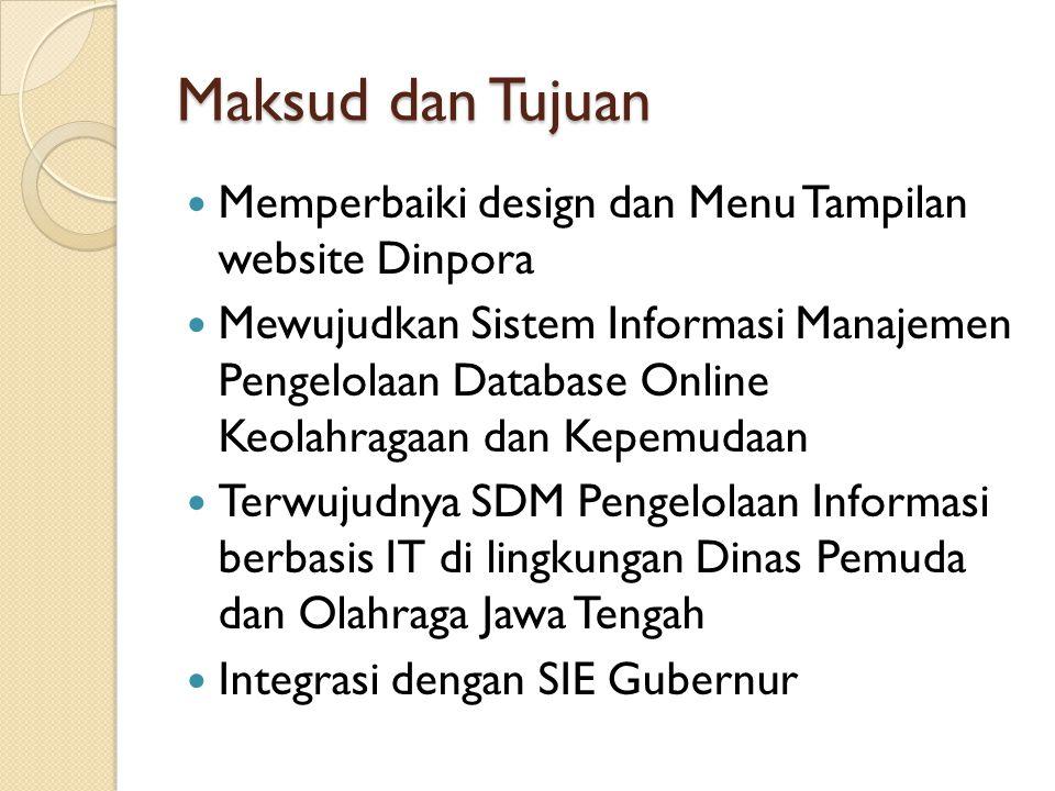 Maksud dan Tujuan Memperbaiki design dan Menu Tampilan website Dinpora Mewujudkan Sistem Informasi Manajemen Pengelolaan Database Online Keolahragaan dan Kepemudaan Terwujudnya SDM Pengelolaan Informasi berbasis IT di lingkungan Dinas Pemuda dan Olahraga Jawa Tengah Integrasi dengan SIE Gubernur
