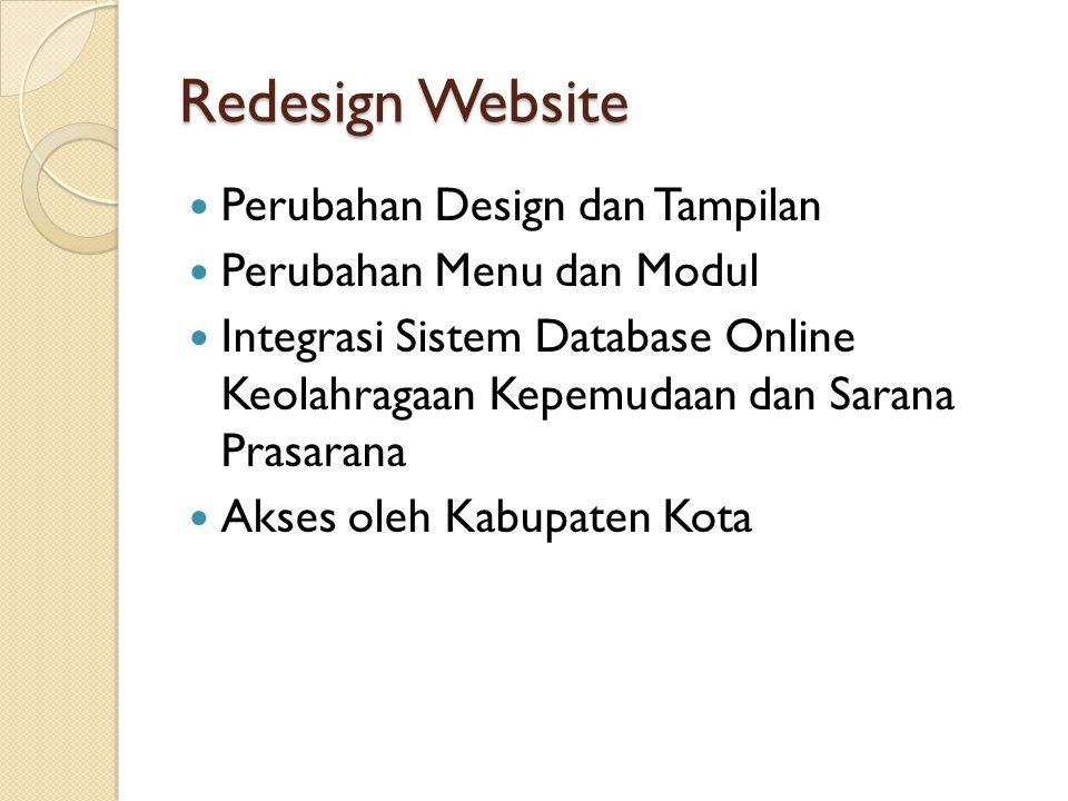 Redesign Website Perubahan Design dan Tampilan Perubahan Menu dan Modul Integrasi Sistem Database Online Keolahragaan Kepemudaan dan Sarana Prasarana Akses oleh Kabupaten Kota
