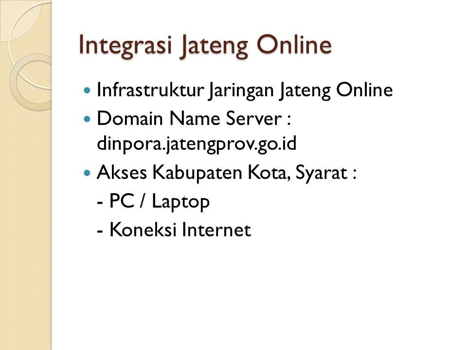 Integrasi Jateng Online Infrastruktur Jaringan Jateng Online Domain Name Server : dinpora.jatengprov.go.id Akses Kabupaten Kota, Syarat : - PC / Laptop - Koneksi Internet
