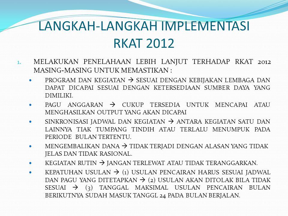 LANGKAH-LANGKAH IMPLEMENTASI RKAT 2012 1.