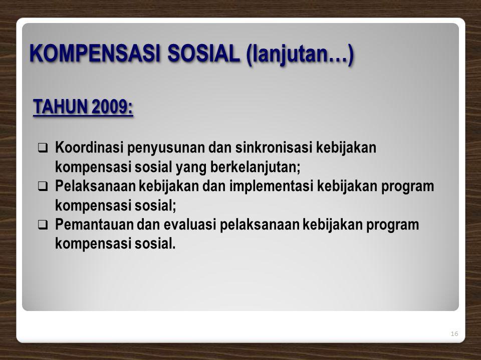16 TAHUN 2009:  Koordinasi penyusunan dan sinkronisasi kebijakan kompensasi sosial yang berkelanjutan;  Pelaksanaan kebijakan dan implementasi kebijakan program kompensasi sosial;  Pemantauan dan evaluasi pelaksanaan kebijakan program kompensasi sosial.