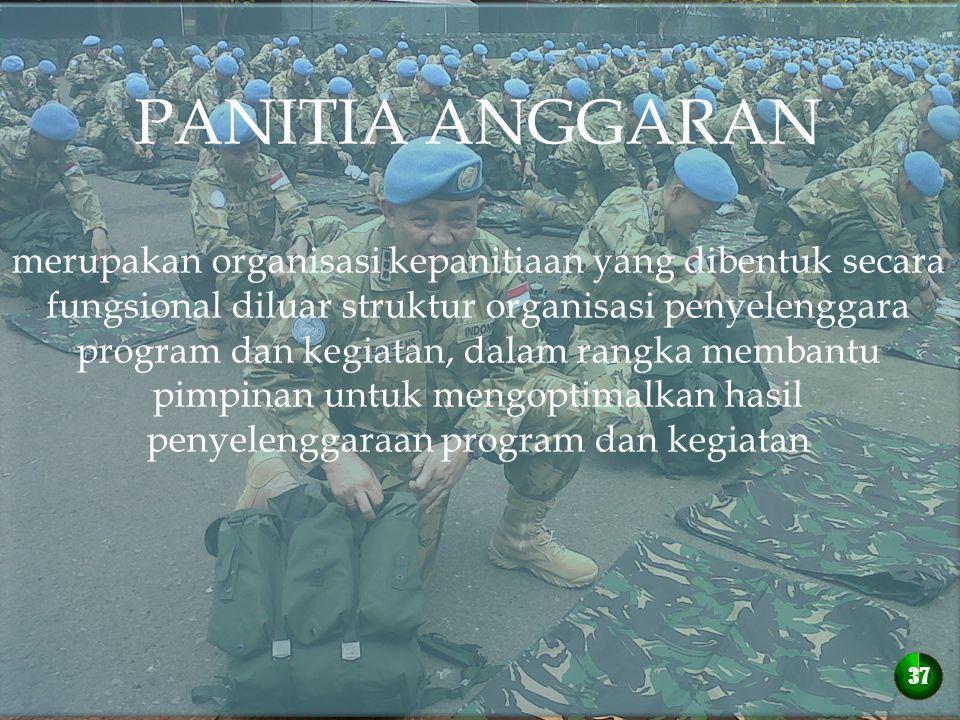 PANITIA ANGGARAN merupakan organisasi kepanitiaan yang dibentuk secara fungsional diluar struktur organisasi penyelenggara program dan kegiatan, dalam