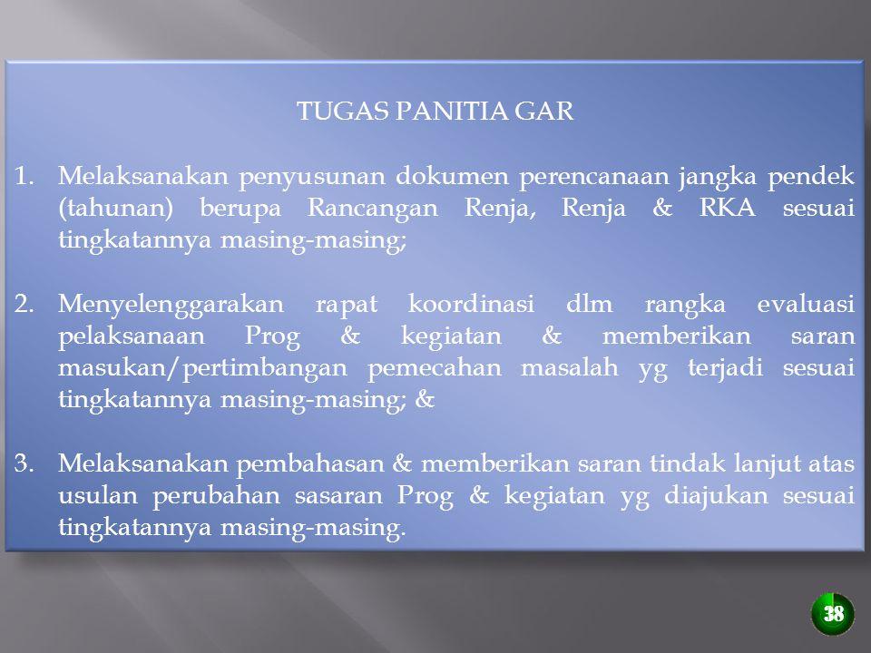 TUGAS PANITIA GAR 1.Melaksanakan penyusunan dokumen perencanaan jangka pendek (tahunan) berupa Rancangan Renja, Renja & RKA sesuai tingkatannya masing