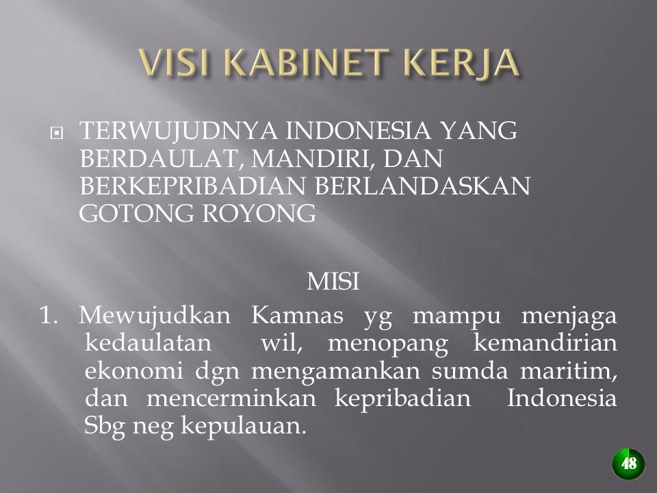  TERWUJUDNYA INDONESIA YANG BERDAULAT, MANDIRI, DAN BERKEPRIBADIAN BERLANDASKAN GOTONG ROYONG MISI 1. Mewujudkan Kamnas yg mampu menjaga kedaulatan w
