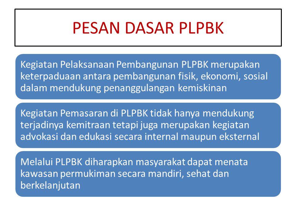 PESAN DASAR PLPBK Kegiatan Pelaksanaan Pembangunan PLPBK merupakan keterpaduaan antara pembangunan fisik, ekonomi, sosial dalam mendukung penanggulang
