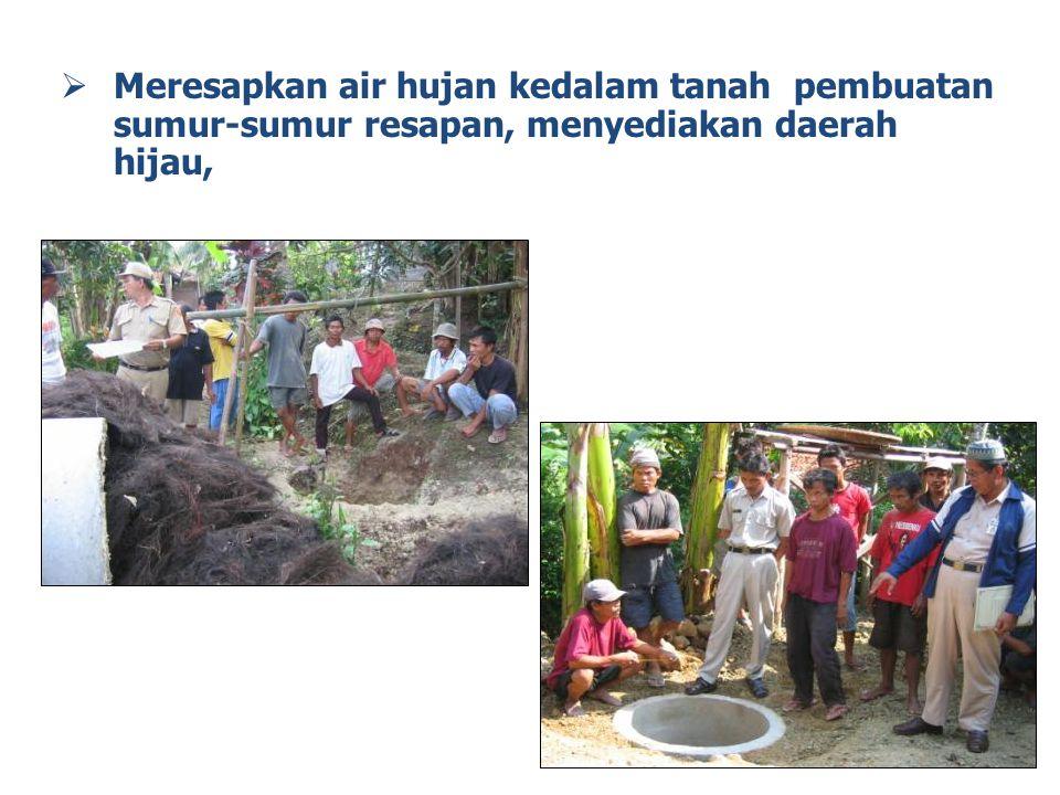  Meresapkan air hujan kedalam tanah pembuatan sumur-sumur resapan, menyediakan daerah hijau, 14