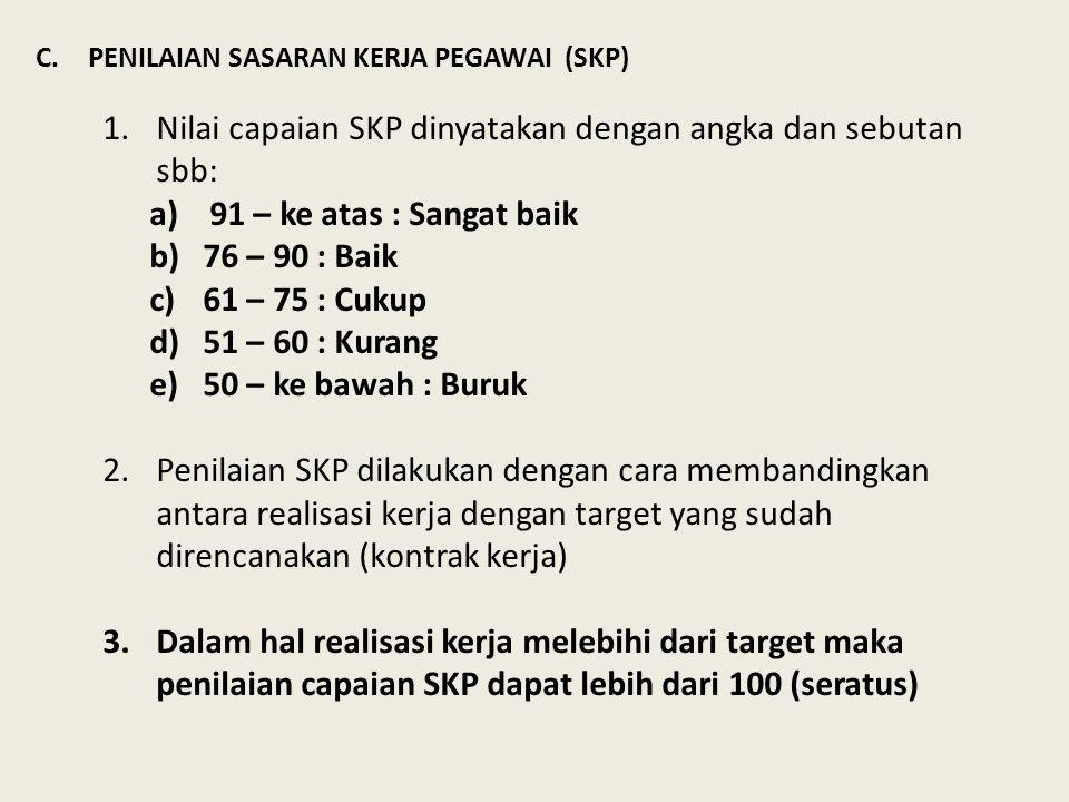C.PENILAIAN SASARAN KERJA PEGAWAI (SKP) 1.Nilai capaian SKP dinyatakan dengan angka dan sebutan sbb: a)91 – ke atas : Sangat baik b)76 – 90 : Baik c)6