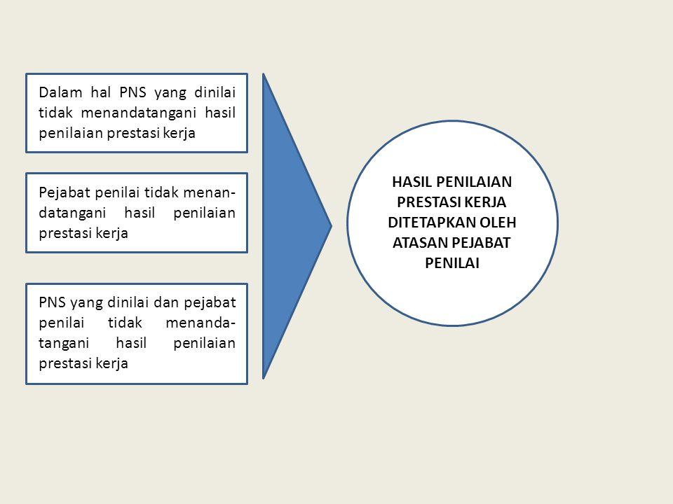 Dalam hal PNS yang dinilai tidak menandatangani hasil penilaian prestasi kerja Pejabat penilai tidak menan- datangani hasil penilaian prestasi kerja P