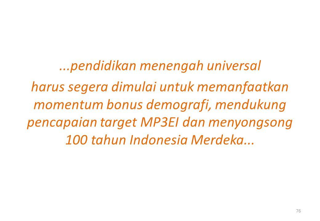 ...pendidikan menengah universal harus segera dimulai untuk memanfaatkan momentum bonus demografi, mendukung pencapaian target MP3EI dan menyongsong 100 tahun Indonesia Merdeka...