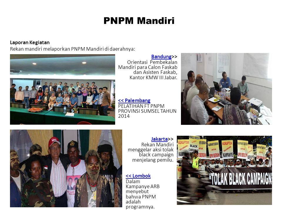 PNPM Mandiri Laporan Kegiatan Rekan mandiri melaporkan PNPM Mandiri di daerahnya: BandungBandung>> Orientasi Pembekalan Mandiri para Calon Faskab dan