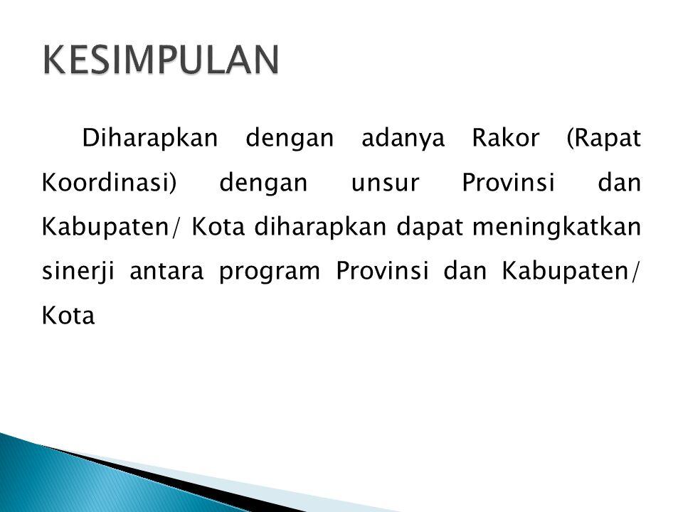 Diharapkan dengan adanya Rakor (Rapat Koordinasi) dengan unsur Provinsi dan Kabupaten/ Kota diharapkan dapat meningkatkan sinerji antara program Provi