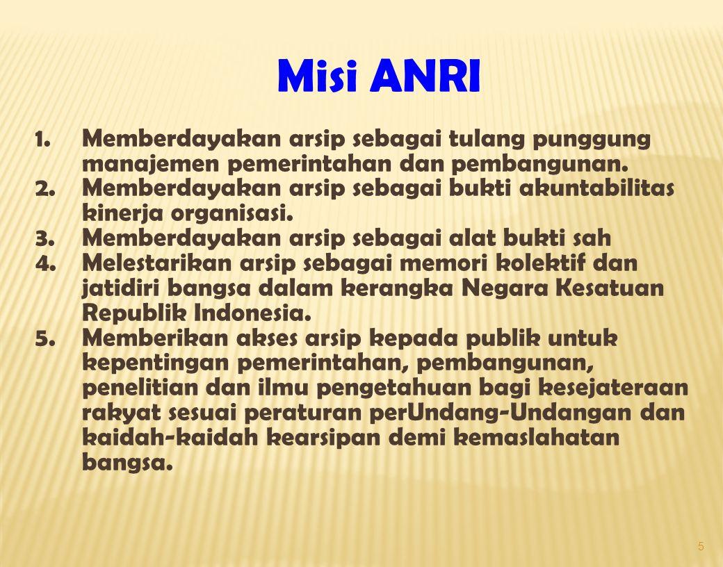 5 Misi ANRI 1.Memberdayakan arsip sebagai tulang punggung manajemen pemerintahan dan pembangunan.