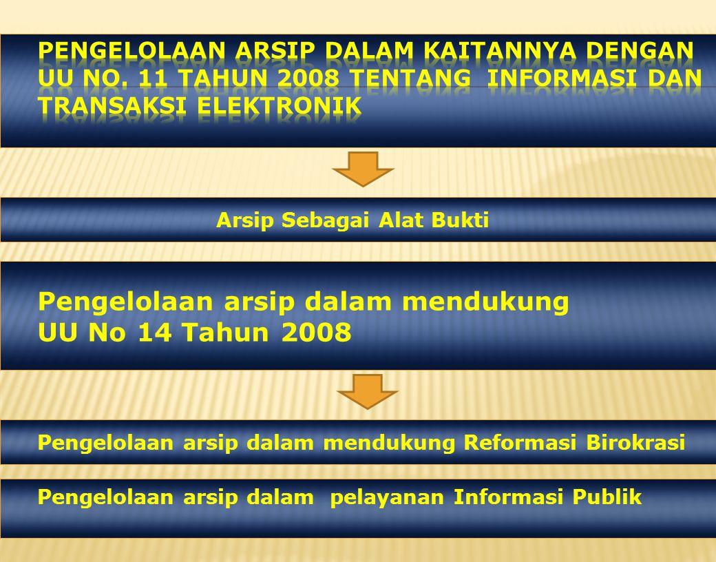 Pengelolaan arsip dalam mendukung Reformasi Birokrasi Pengelolaan arsip dalam pelayanan Informasi Publik Pengelolaan arsip dalam mendukung UU No 14 Tahun 2008 Arsip Sebagai Alat Bukti