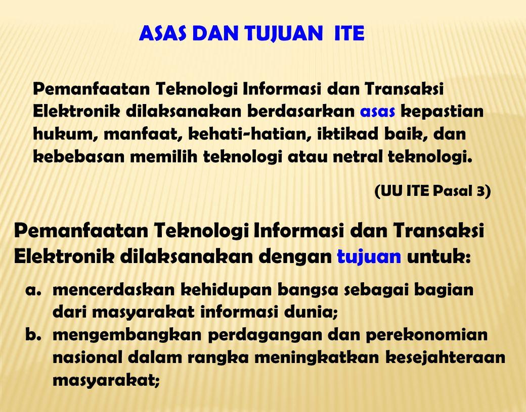 Pemanfaatan Teknologi Informasi dan Transaksi Elektronik dilaksanakan berdasarkan asas kepastian hukum, manfaat, kehati-hatian, iktikad baik, dan kebebasan memilih teknologi atau netral teknologi.