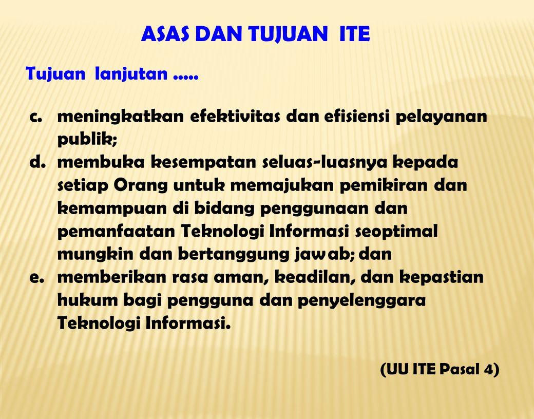 c.meningkatkan efektivitas dan efisiensi pelayanan publik; d.membuka kesempatan seluas-luasnya kepada setiap Orang untuk memajukan pemikiran dan kemam