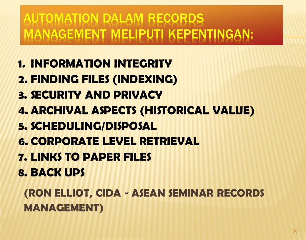 58 1.INFORMATION INTEGRITY 2. FINDING FILES (INDEXING) 3.