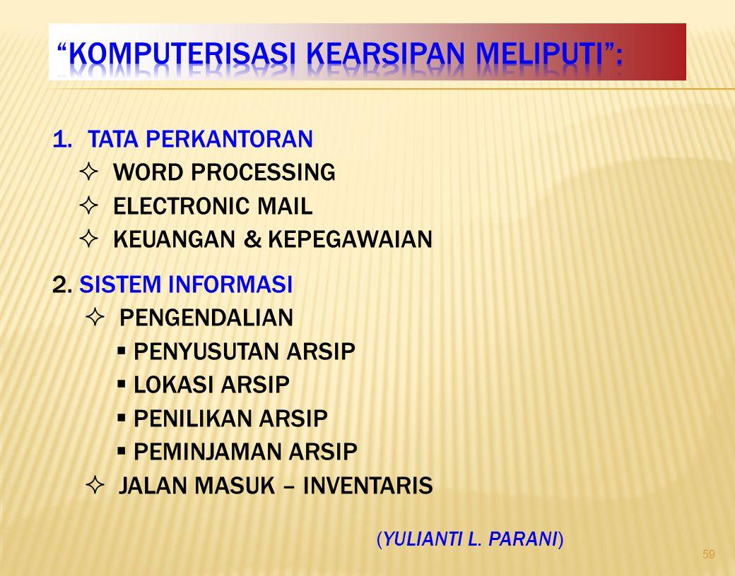 1.TATA PERKANTORAN  WORD PROCESSING  ELECTRONIC MAIL  KEUANGAN & KEPEGAWAIAN 2.