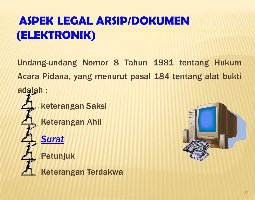 62 Undang-undang Nomor 8 Tahun 1981 tentang Hukum Acara Pidana, yang menurut pasal 184 tentang alat bukti adalah : keterangan Saksi Keterangan Ahli Surat Petunjuk Keterangan Terdakwa ASPEK LEGAL ARSIP/DOKUMEN (ELEKTRONIK)