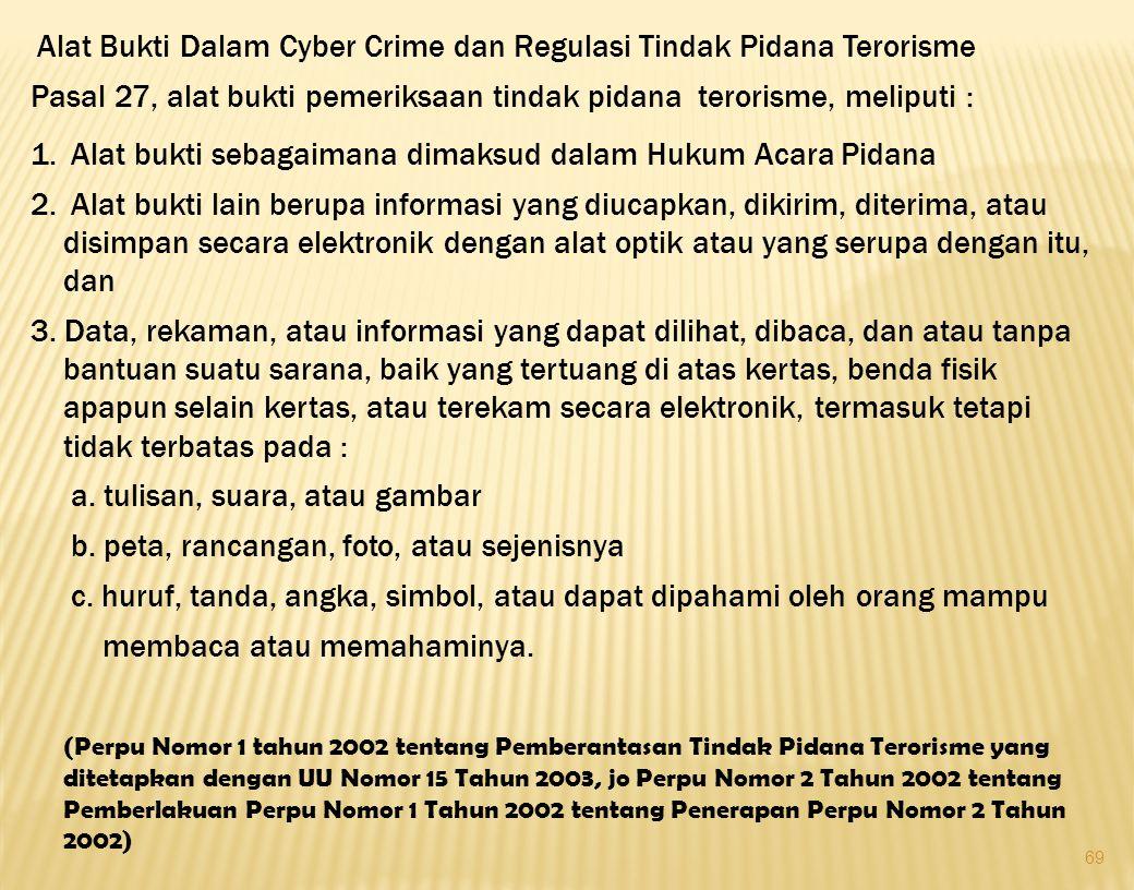 69 Alat Bukti Dalam Cyber Crime dan Regulasi Tindak Pidana Terorisme Pasal 27, alat bukti pemeriksaan tindak pidana terorisme, meliputi : 1. Alat bukt