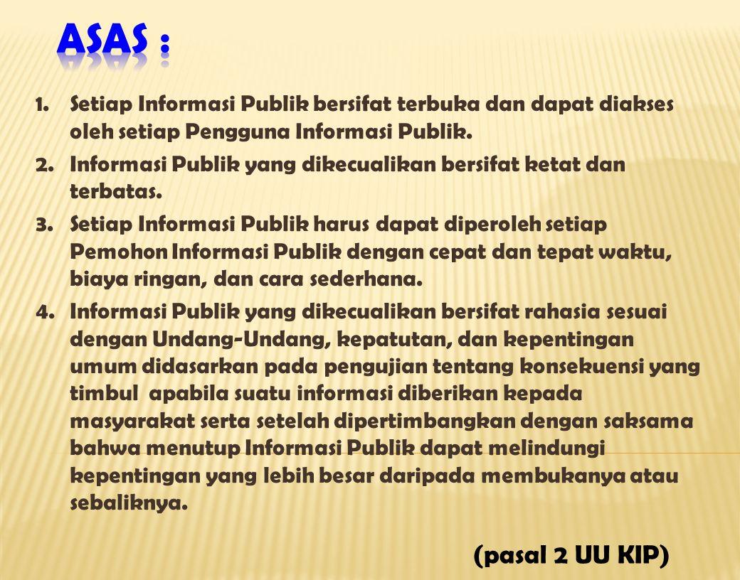 1.Setiap Informasi Publik bersifat terbuka dan dapat diakses oleh setiap Pengguna Informasi Publik. 2.Informasi Publik yang dikecualikan bersifat keta