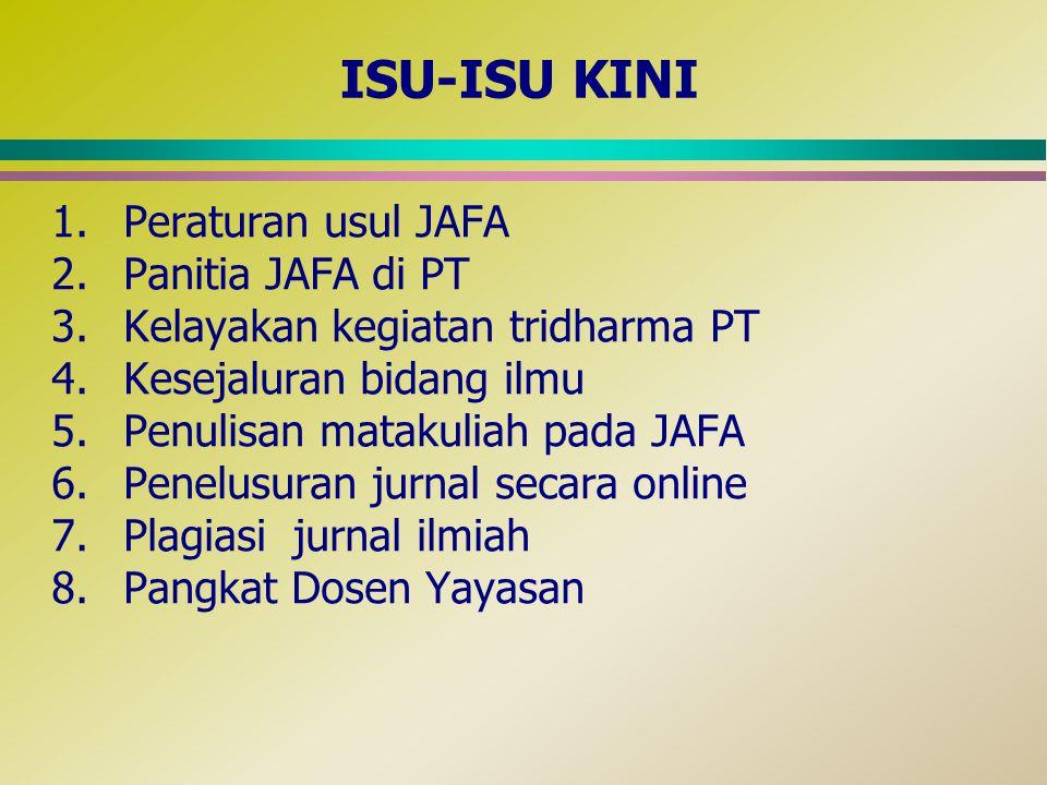 ISU-ISU KINI 1.Peraturan usul JAFA 2.Panitia JAFA di PT 3.Kelayakan kegiatan tridharma PT 4.Kesejaluran bidang ilmu 5.Penulisan matakuliah pada JAFA 6