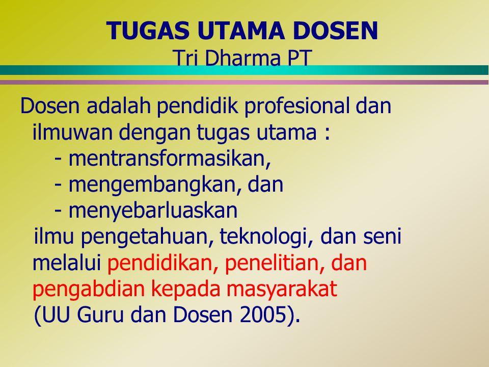 TUGAS UTAMA DOSEN Tri Dharma PT Dosen adalah pendidik profesional dan ilmuwan dengan tugas utama : - mentransformasikan, - mengembangkan, dan - menyebarluaskan ilmu pengetahuan, teknologi, dan seni melalui pendidikan, penelitian, dan pengabdian kepada masyarakat (UU Guru dan Dosen 2005).