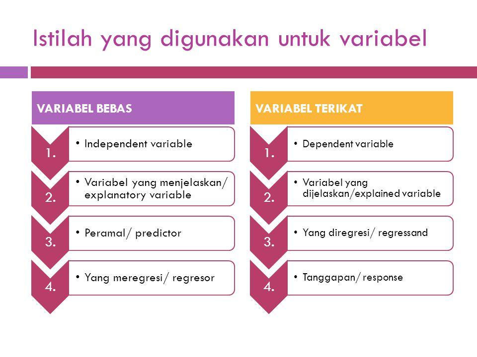  Variabel yang nilai- nilainya tidak bergantung pada variabel lain  Untuk meramalkan atau menerangkan nilai variabel lain  Variabel yang nilain- ni