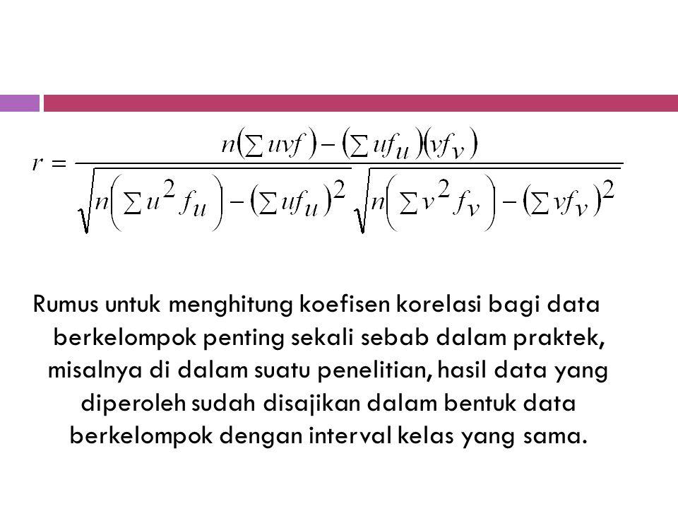 KOEFISIEN KORELASI DATA BERKELOMPOK Rumus untuk menghitung koefisien korelasi yang sudah dibahas sebelumnya adalah untuk data yang tidak berkelompok (