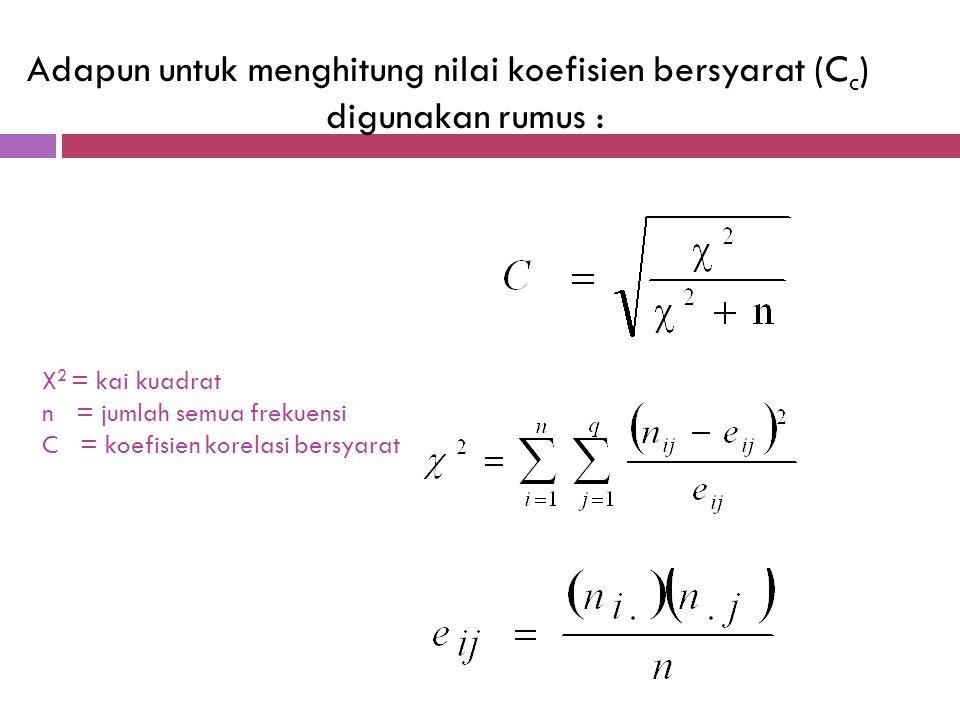 Koefisien bersyarat (C), dipergunakan untuk mengukur kuatnya hubungan data kualitatif yang mempunyai arti seperti koefisien korelasi, dimana nilai C s