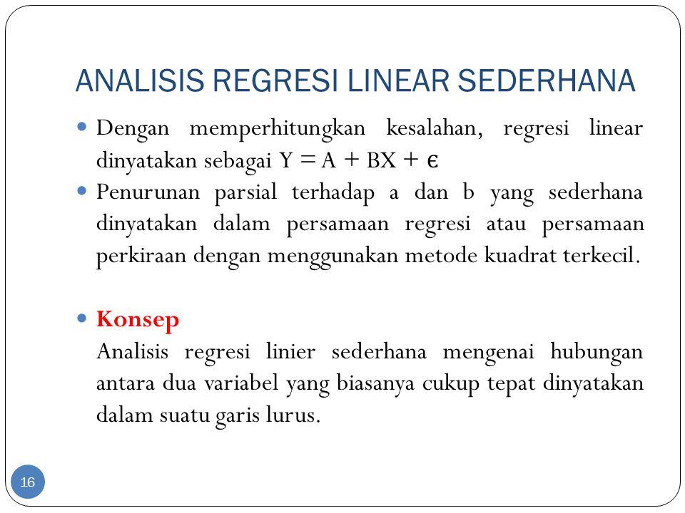ANALISIS REGRESI LINEAR SEDERHANA Dengan memperhitungkan kesalahan, regresi linear dinyatakan sebagai Y = A + BX + є Penurunan parsial terhadap a dan