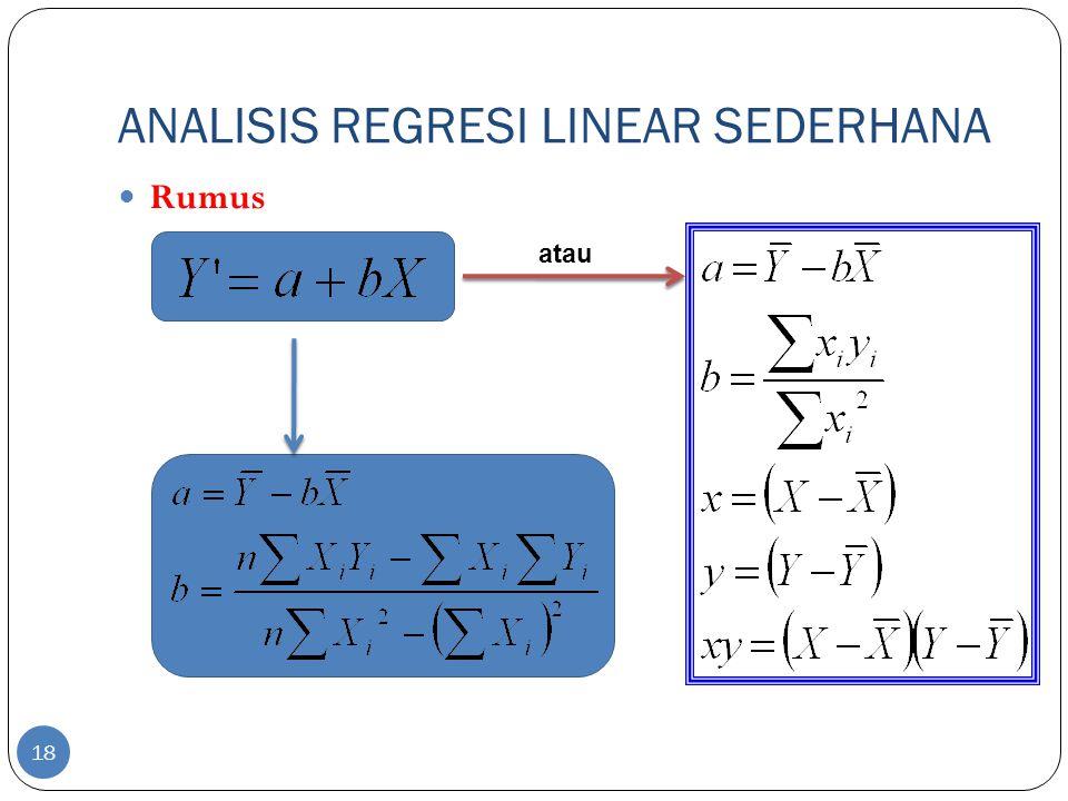 ANALISIS REGRESI LINEAR SEDERHANA Contoh Dari suatu ujian matematika dasar diperoleh data yang menghubungkan nilai skor pertama (variabel bebas x) dan nilai skor kedua (variabel terikat y) seperti ditunjukkan dalam tabel berikut.