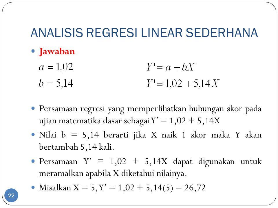 ANALISIS REGRESI LINEAR SEDERHANA Jawaban Persamaan regresi yang memperlihatkan hubungan skor pada ujian matematika dasar sebagai Y' = 1,02 + 5,14X Ni