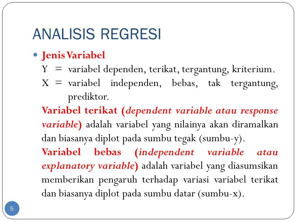 ANALISIS REGRESI Jenis Variabel Y=variabel dependen, terikat, tergantung, kriterium. X=variabel independen, bebas, tak tergantung, prediktor. Variabel