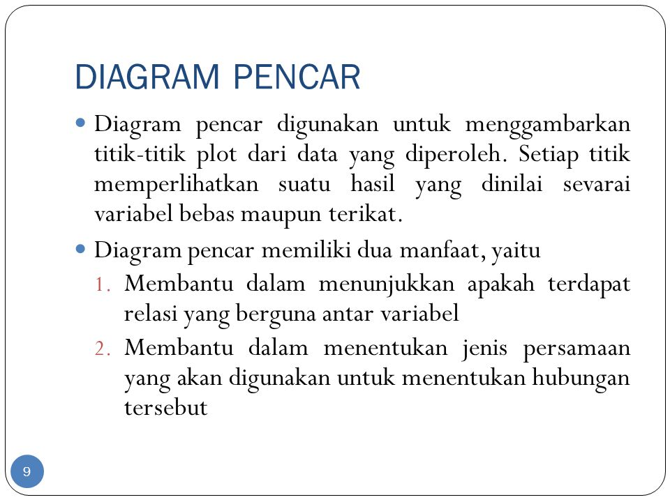 DIAGRAM PENCAR Diagram pencar digunakan untuk menggambarkan titik-titik plot dari data yang diperoleh. Setiap titik memperlihatkan suatu hasil yang di