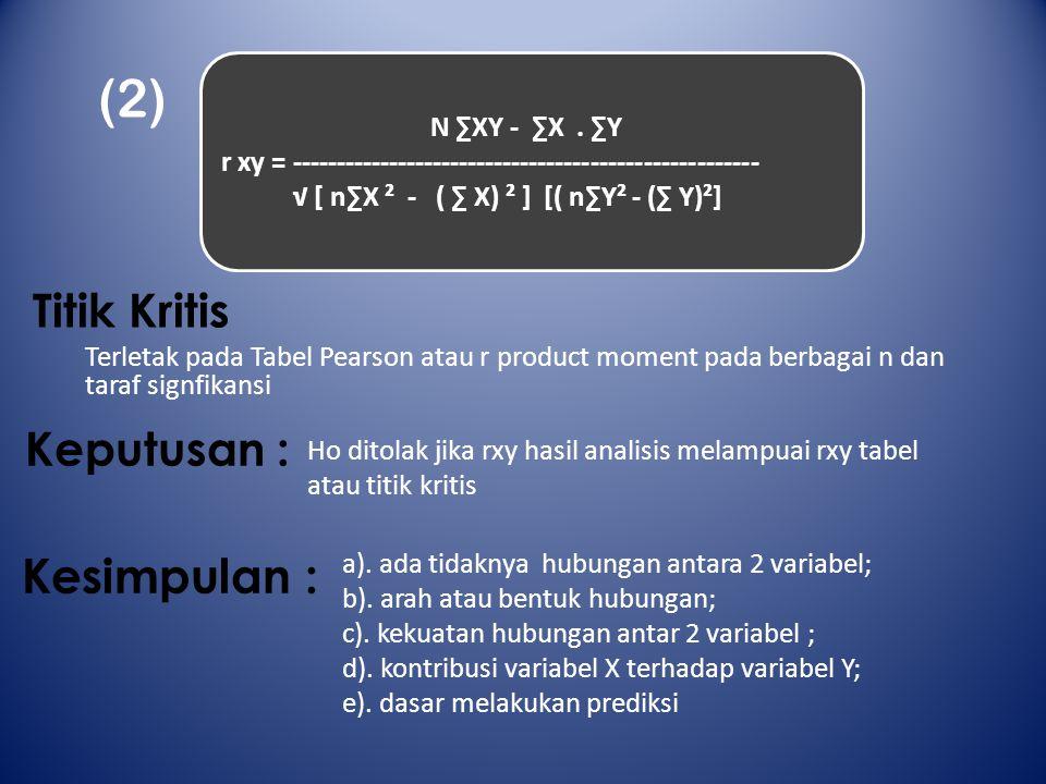 Titik Kritis Terletak pada Tabel Pearson atau r product moment pada berbagai n dan taraf signfikansi (2) N ∑XY - ∑X. ∑Y r xy = -----------------------