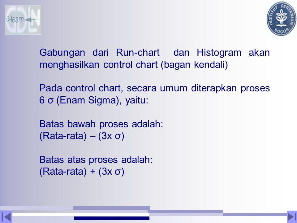 Gabungan dari Run-chart dan Histogram akan menghasilkan control chart (bagan kendali) Pada control chart, secara umum diterapkan proses 6 σ (Enam Sigm